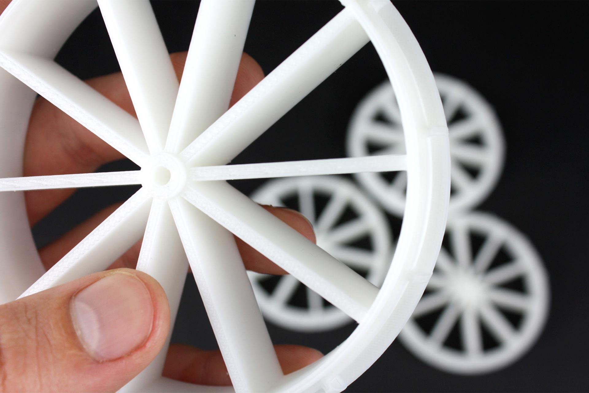 A 3D printed wheel for a kids toy